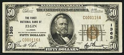 Elgin, IL - $50 1929 Ty. 1 The First NB Ch. # 1365