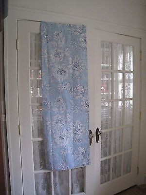 Laura Ashley Light Blue White Fabric Shower Curtain 212