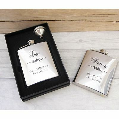 Classy Personalised Best Man Hip Flask - Engraved Best Man & Usher Wedding Gift