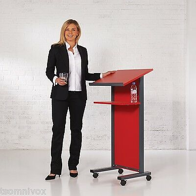 RED Effect Lectern - Portable 2 locking castors, tilted top shelf & 2nd shelf