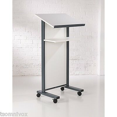 WHITE Effect Lectern - Portable 2 locking castors, tilted top shelf & 2nd shelf