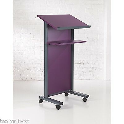 PURPLE Effect Lectern - Portable 2 locking castors, tilted top shelf & 2nd shelf