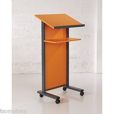 ORANGE Effect Lectern - Portable 2 locking castors, tilted top shelf & 2nd shelf