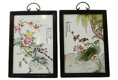Superb Chinese Famille Rose Porcelain Panels, S/2