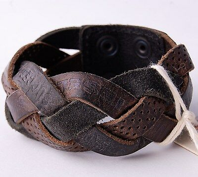 Diesel Mens Black / Brown Leather Agarino Wristband BNWT l Cuff Bracelet RRP £49