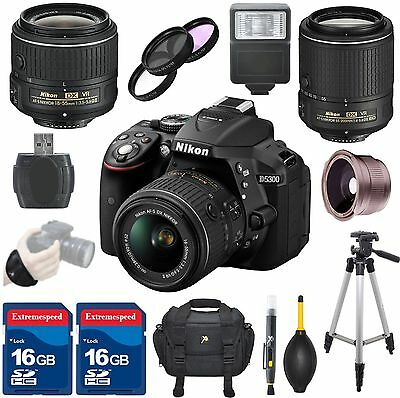 Nikon D5300 DSLR Camera Body + 18-55mm VR II Lens + 55-200mm VR II Lens + Bundle