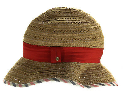 15147cee15e1b BCBGENERATION WOMEN S STRAW Floppy Hat With Red Band One Size ...