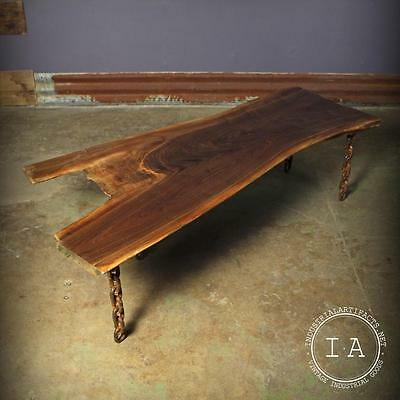 Vintage Industrial Live Edge Walnut Slab Coffee Table