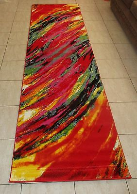 New Modern Colourful Heatset Floor Hallway Runner Rug 80X300Cm
