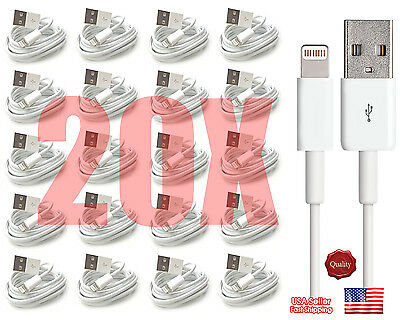 20x 8 Pin USB Charger Cord Sync Data Cable for iPhone 5 5S C 6 3FT Wholesale Lot