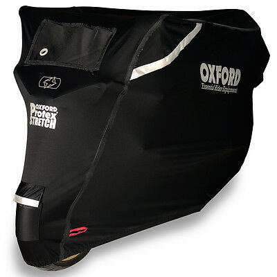 Oxford Protex Stretch Motorcycle Premium Stretch-Fit Outdoor Cover Large | Black