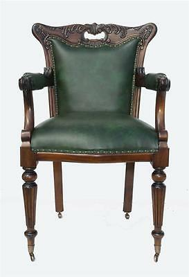 Solid Mahogany Quality Leather Green Office Period Arm Chair Bronzed Casters