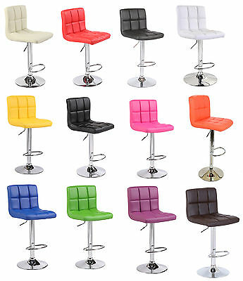 Faux Leather Chrome Kitchen Breakfast Bar Stool Barstools PU Swivel Stools Chair