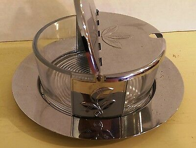 Chase Chrome and Glass Two-Part Condiment Bowl with Hinged Lids