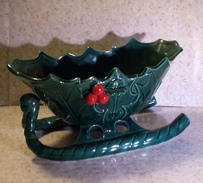 Vintage Lefton Green Holly Berry Sleigh Candy Dish #1346 CHRISTMAS Japan STICKER