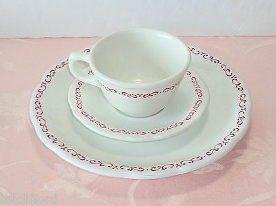 Buffalo China Restaurant RED SCROLL 3 Pcs Dinner Plate Cup Saucer Scallop Rim