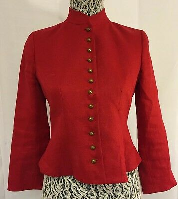 RALPH LAUREN Classic Red Victorian Equestrian English Riding Jacket Sz 4P RARE!!