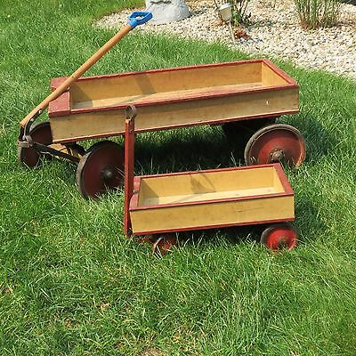 2 Vintage Child's Wood Pull Wagon w/ Ball Bearing Wheels Primitive Toy Display