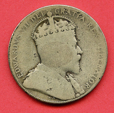 1905 Half Dollar King Edward  VII Canadian Silver Fifty Cent Coin Canada