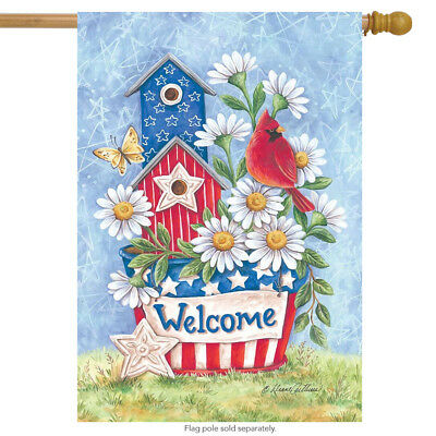 """Patriotic Blooms Spring House Flag Welcome Cardinal Daisies 28"""" x 40"""""""