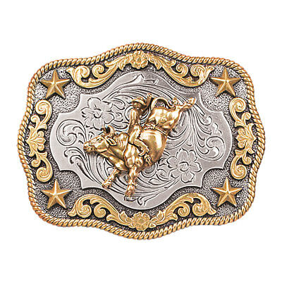 Nocona Western Boys Belt Buckle Rect Roped Edge Bull Rider Gold/Silver 3798902