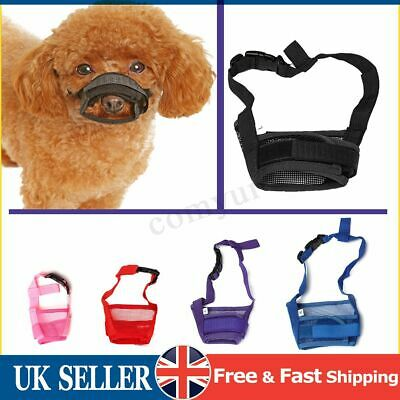 Adjustable Safety Dog Muzzle Pet Puppy Mesh Mouth Mask Anti Chewing Barking S-XL