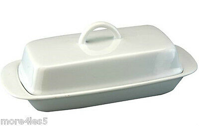 Apollo Butter Dish With Handle Traditional Porcelain Storage White Kitchen 2358