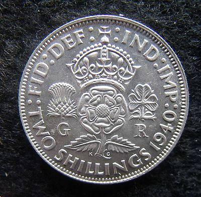 1940 Florin Two Shillings George VI Silver British coins about Good VF
