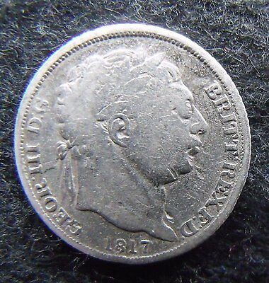 1817 Sixpence George III .925 Silver British Penny 6d Coin