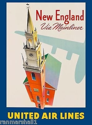 New England Mainliner United States Amerca Travel Advertisement Art Poster