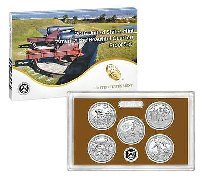 2016-S America the Beautiful 5 Coin Clad Proof Quarter Set - w/ Box and CoA