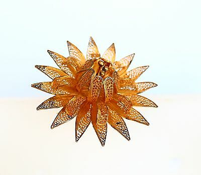 Amazing european artwork Water Lilly gold tone filigree antique  BROOCH
