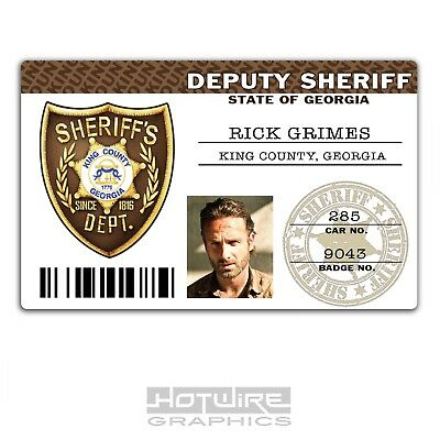 Plastic ID Card (TV Series Prop) - Rick Grimes THE WALKING DEAD - Sheriff Police