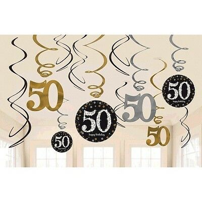 50th Birthday Swirl Decorations ~ Sparkling Celebration Party Supplies Fiftieth
