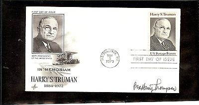 Us Autographed 1St Day Cover Scot#1499,Harry S. Truman 1 Signature