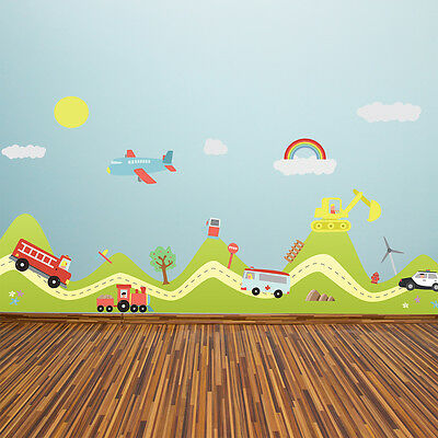 Home Mural Art UK Family Decoration Wall Sticker Transport Cars Nursery Decals