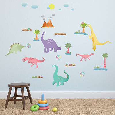 Wall Decorations Stickers Décor Nursery Art Happy Dinosaurs Mural 150cm x 110cm