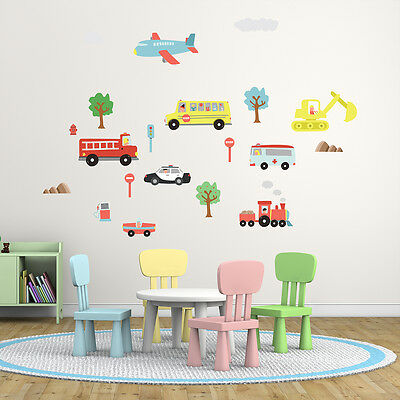 Wall Stickers Mural Nursery Happy Car Home Decoration 125cm x 85cm UK Transport