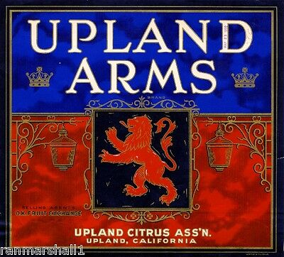 Upland San Bernardino Coat of Arms Orange Citrus Fruit Crate Label Art Print