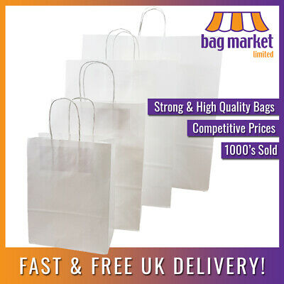 Strong White Twisted Handle Paper Bags | Ribbed/Carrier/Kraft/Gift/Party/Fashion