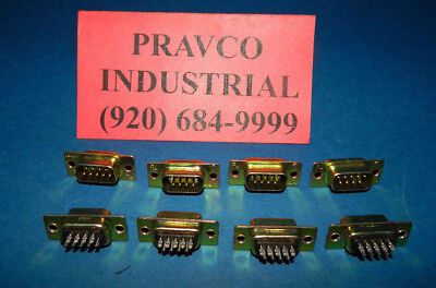 Lot of 8 Tyco Gold 9 Pin D-Sub Connector