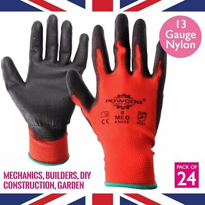24 x Pairs PU Safety Work Gloves PPE | RED | Gardening Mechanic Warehouse DIY