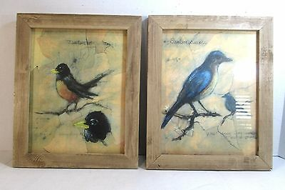 "RUSTIC WOOD FRAMED CHALK MEDIA BIRD PRINTS 13.5"" x 16.5""REALLY MUST SEE CLOSELY"