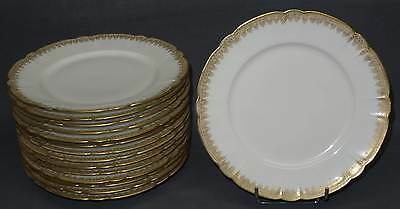 15 Assiettes Plates Haviland Porcelaine De Limoges Blanc & Or Double Dorure