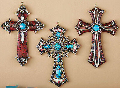 "Southwest Western Wall Cross Set Turquoise Crystal Crucifix 6""x 4"" Western Decor"