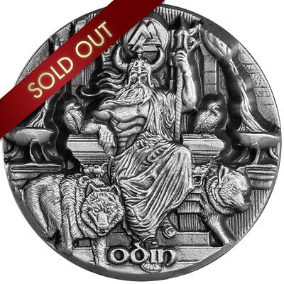 ODIN RULER OF THE AESIR Legends of Asgard 3 Oz Silver Coin $10 Tokelau 2016