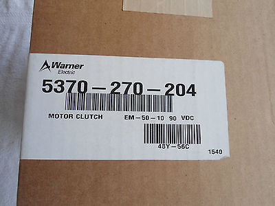 NIB Warner Electric Clutch    5370-270-204      EM-50-10 90V