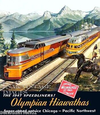 Milwaukee Road Olympian Hiawatha Poster Erie Built CMSP Train Railroad 1947 Ad