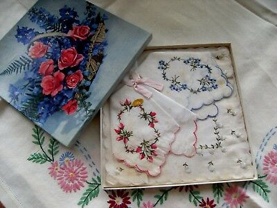 Vintage Boxed Set of 3 Floral Embroidered Handkerchiefs Made in Switzerland