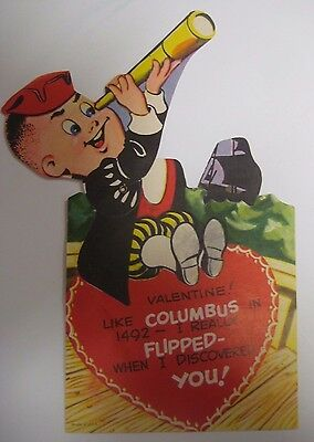 Vintage Antique COLUMBUS SAILED IN 1492 Valentines Day Card Mechanical TELESCOPE